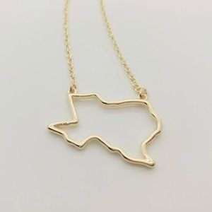 Salty Cold Brew Jewelry - Dainty Texas Outline Pendant Necklace